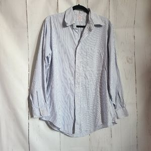 Brooks brothers blue white stripe dress shirt 15.5